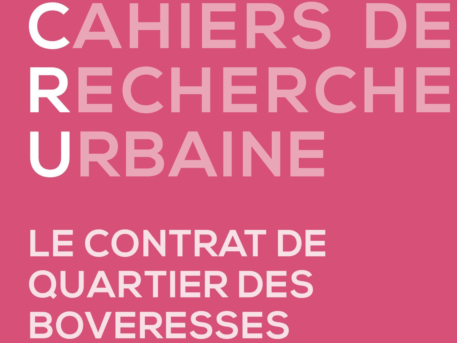 Nouveau numéro des  Cahiers de recherche urbaine