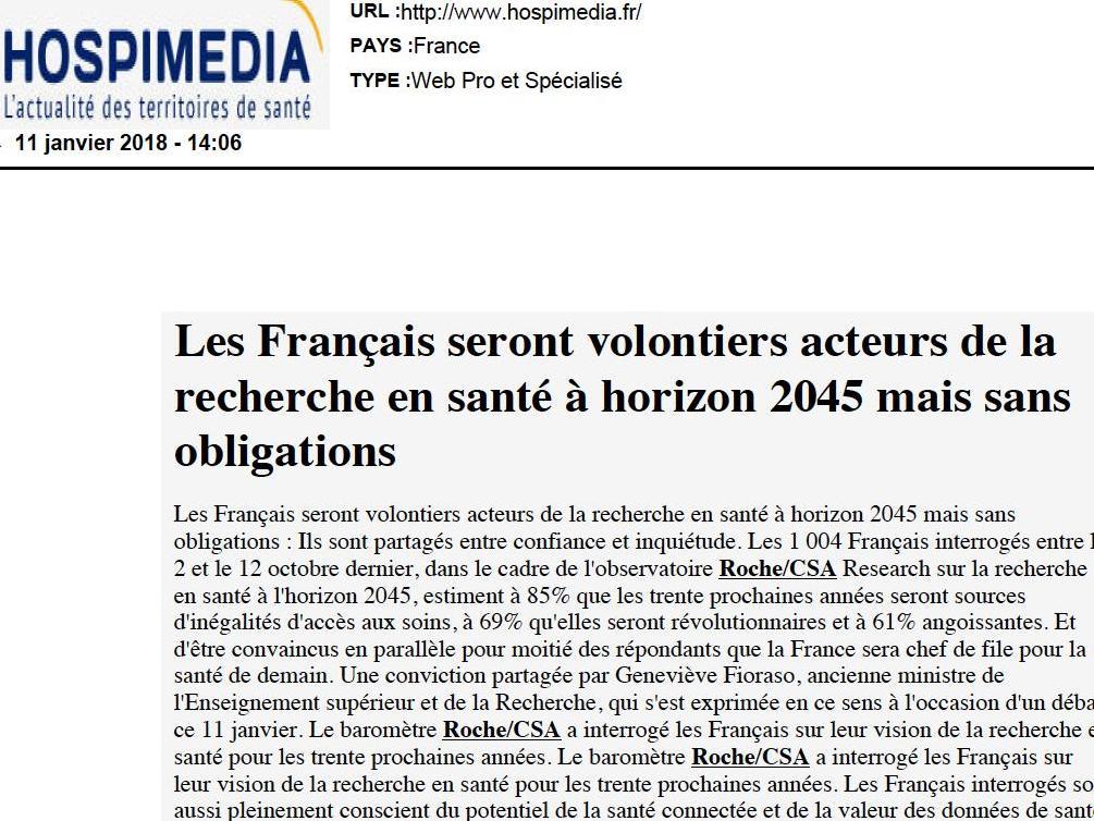 Les Français seront volontiers acteurs de la recherche en santé à l'horizon 2045 mais sans obligations