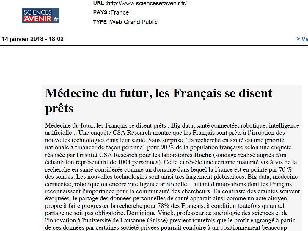 Médecine du futur, les Français se disent prêts