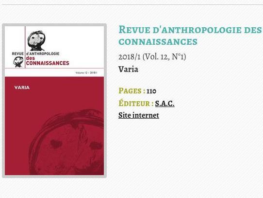 Revue d'anthropologie des connaissances Vol12 n°1, dir.de la revue D.Vinck
