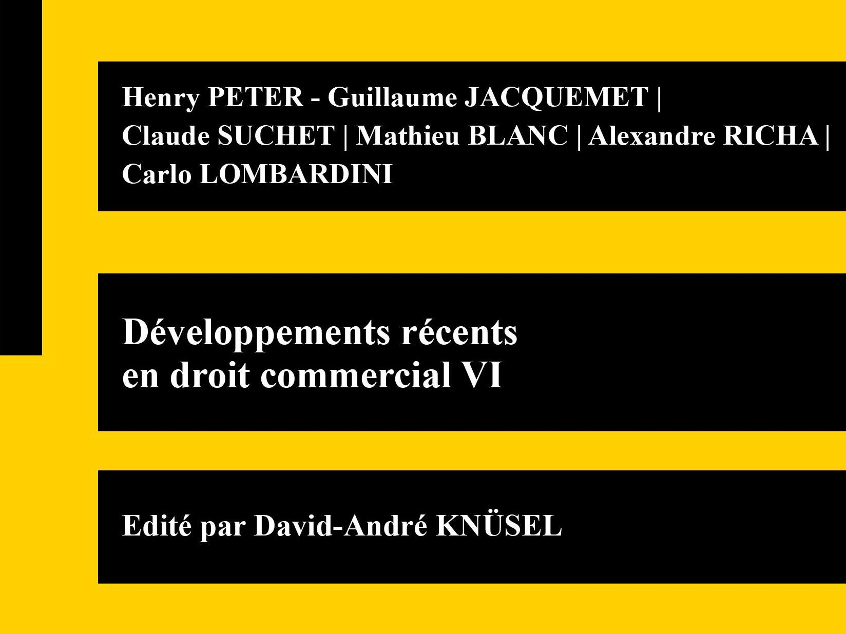 Publication │Développements récents  en droit commercial VI