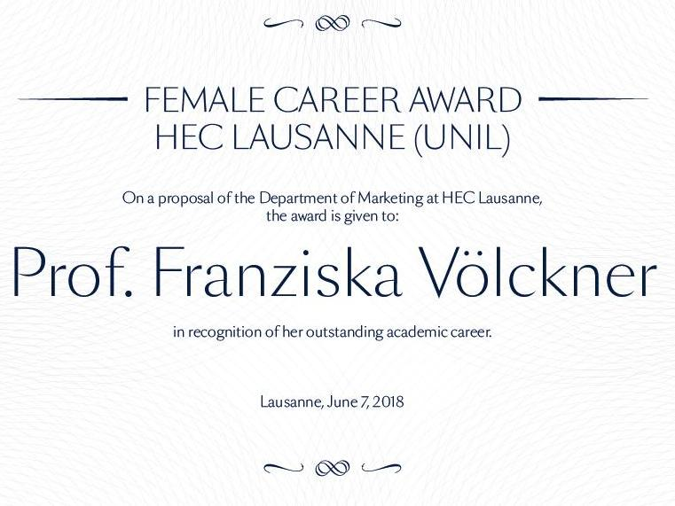 "HEC Lausanne (UNIL) launches the ""Female Career Award"""