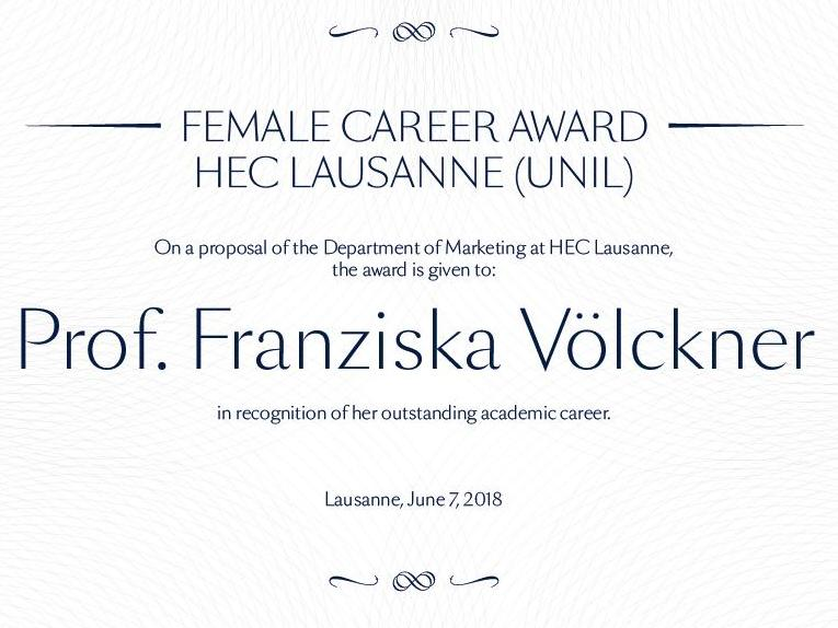 "HEC Lausanne (UNIL) lance le prix ""Female Career Award"""