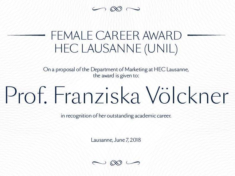 "HEC Lausanne (UNIL) lance le prix ""Female Career Award"""