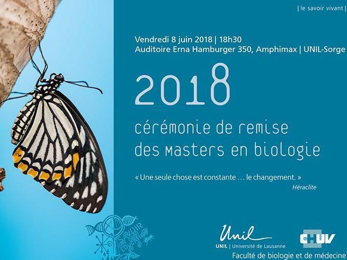 Cérémonie de remise des Masters en biologie 2018