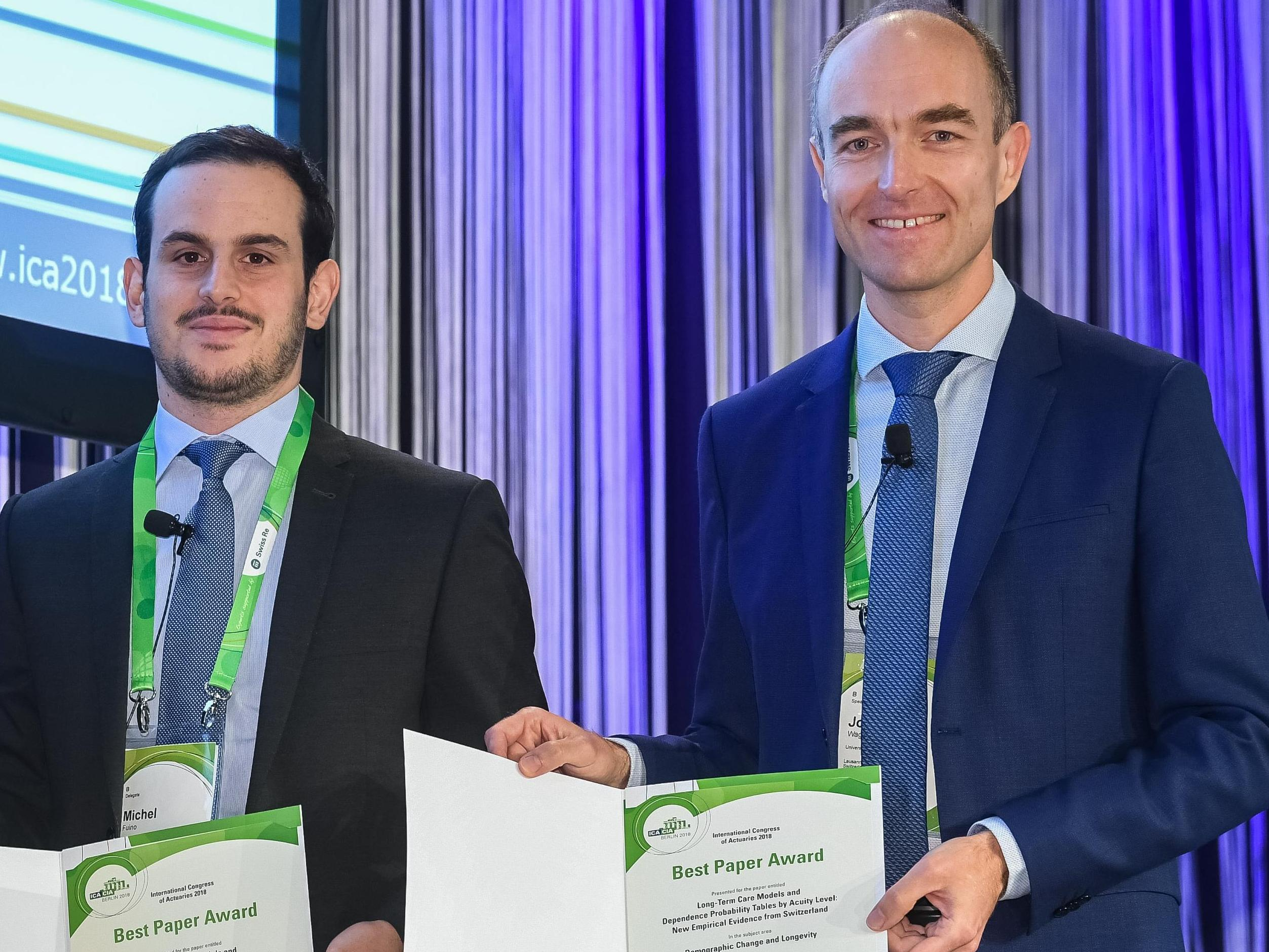 Actuarial Science: Joël Wagner and Michel Fuino received the Best Paper Award at the ICA Congress 2018