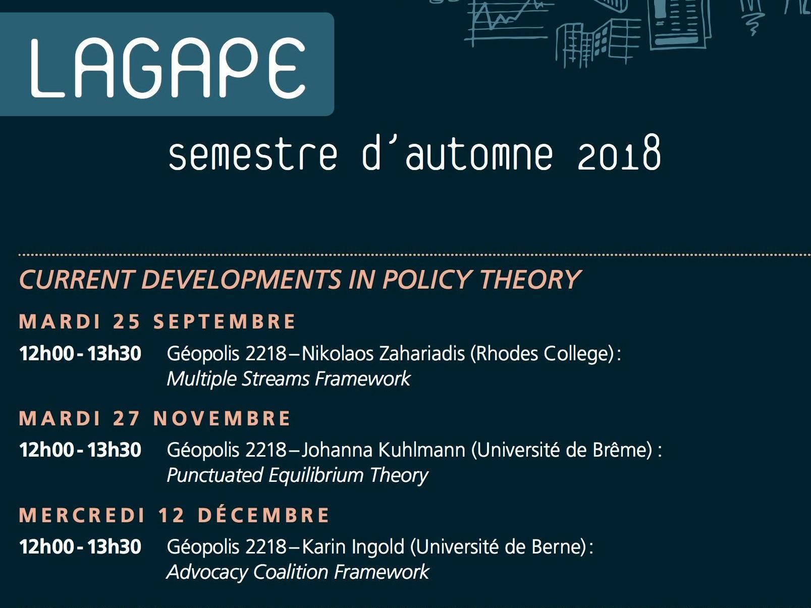 Programme du LAGAPE pour le semestre d'automne 2018