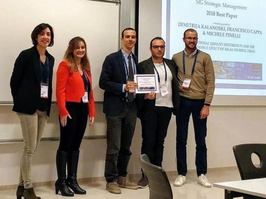 "Dimitrija Kalanoski receives the ""Best Paper Award"" at the European Academy of Management – EURAM 2018"