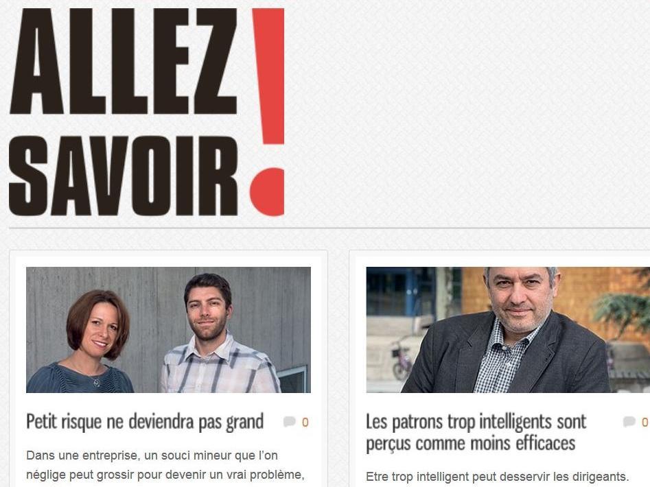 Deux Profs de HEC Lausanne dans le dernier magazine Allez Savoir!