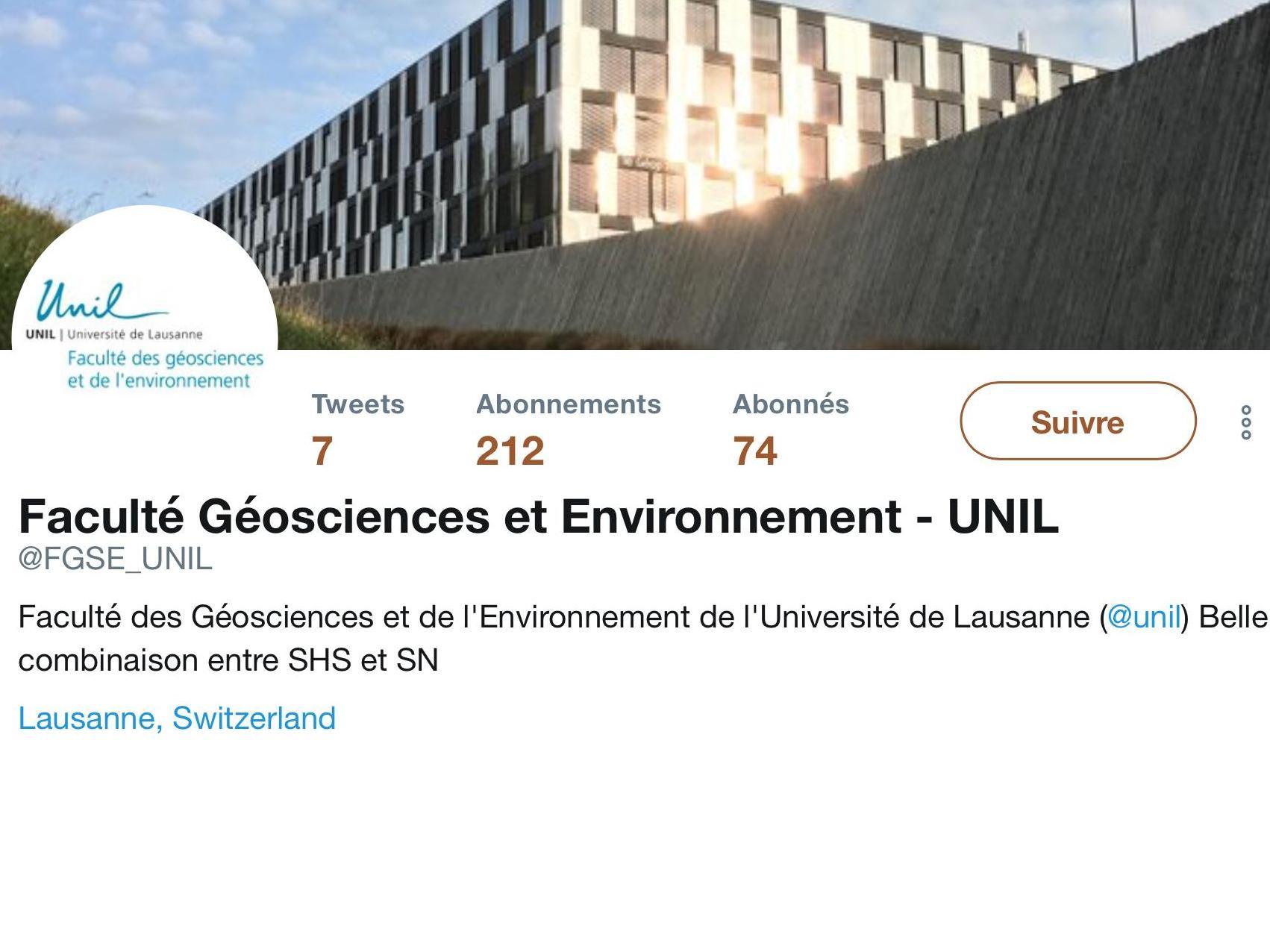 La Faculté des géosciences et de l'environnement sur Twitter
