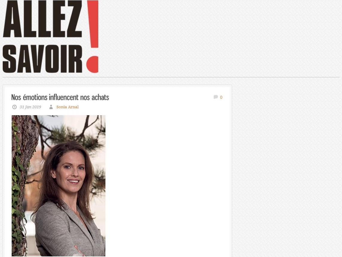 La Prof. Francine Petersen dans le dernier magazine Allez Savoir!