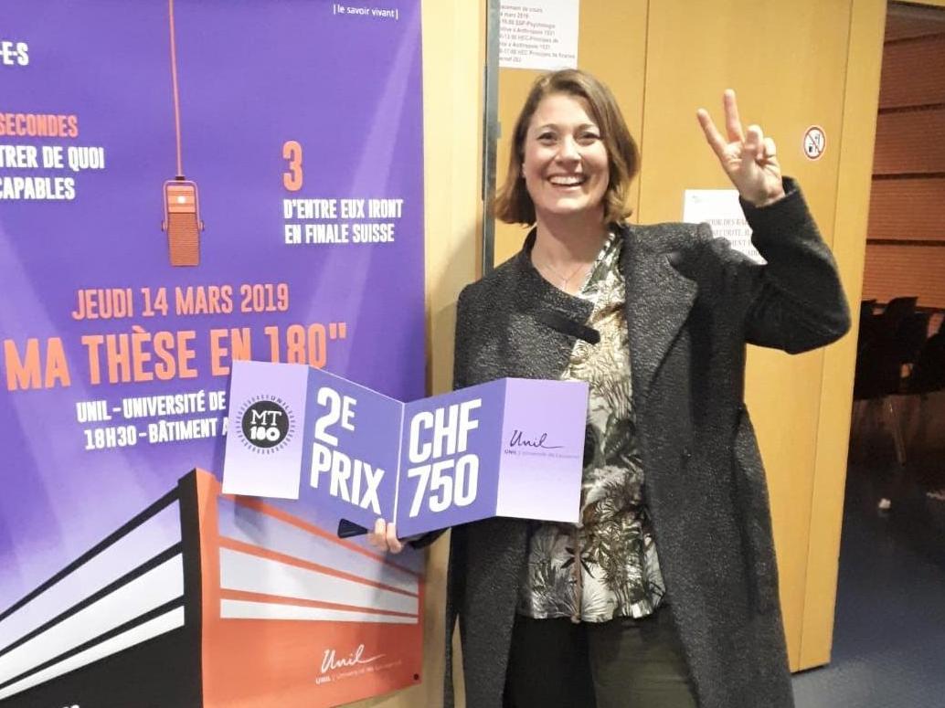 Mme Aline Forestier, doctorante de Prof. Anne-Sylvie Ramelet, a présenté sa thèse en 180 secondes jeudi 14 mars 2019.