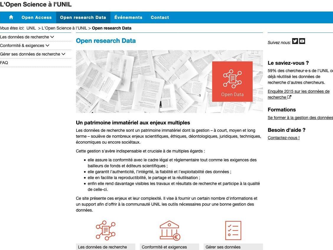 Nouveau site sur la gestion des données de la recherche